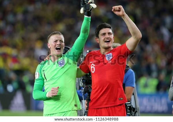 03.07.2018. MOSCOW, Russia: HARRY MAGUIRE, JORDAN PICKFORD CELEBRATES VICTORY in  the Round-16 Fifa World Cup Russia 2018 football match between COLOMBIA VS ENGLAND in Spartak Stadium.