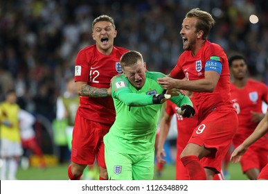 03.07.2018. MOSCOW, Russia:  JORDAN PICKFORD, HARRY KANE CELEBRATES VICTORY AT END OF the Round-16 Fifa World Cup Russia 2018 football match between COLOMBIA VS ENGLAND in Spartak Stadium.