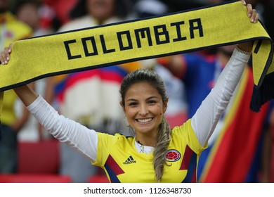 03.07.2018. MOSCOW, Russia:Colombia fans on the stands in the Round-16 Fifa World Cup Russia 2018 football match between COLOMBIA VS ENGLAND in Spartak Stadium.