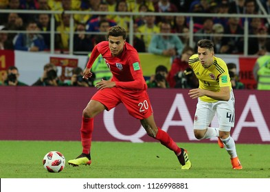 03.07.2018. MOSCOW, Russia:DELE ALLI, SANTIAGO ARIAS  in action during the Round-16 Fifa World Cup Russia 2018 football match between COLOMBIA VS ENGLAND in Spartak Stadium.