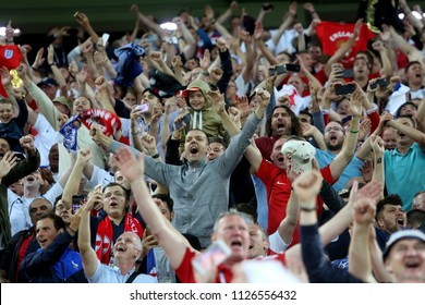 03.07.2018. MOSCOW, Russia:England fans celebrates victory at end of the the Round-16 Fifa World Cup Russia 2018 football match between COLOMBIA VS ENGLAND in Spartak Stadium.