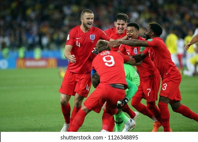 03.07.2018. MOSCOW, Russia:ENGLAND TEAM CELEBRATES VICTORY AT END OF the Round-16 Fifa World Cup Russia 2018 football match between COLOMBIA VS ENGLAND in Spartak Stadium.