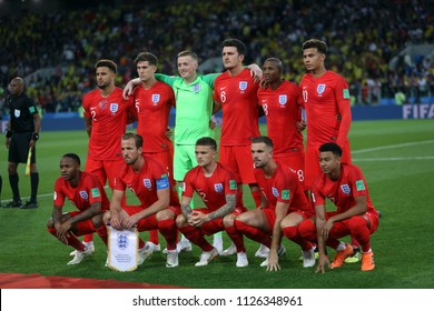 03.07.2018. MOSCOW, Russia:ENGLAND TEAM  in the Round-16 Fifa World Cup Russia 2018 football match between COLOMBIA VS ENGLAND in Spartak Stadium.