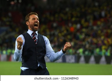 03.07.2018. MOSCOW, Russia:Gareth Southgate celebrates victory at end of the Round-16 Fifa World Cup Russia 2018 football match between COLOMBIA VS ENGLAND in Spartak Stadium.