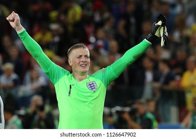 03.07.2018. MOSCOW, Russia:JORDAN PICKFORD CELEBRATES VICTORY AT END OF the Round-16 Fifa World Cup Russia 2018 football match between COLOMBIA VS ENGLAND in Spartak Stadium.