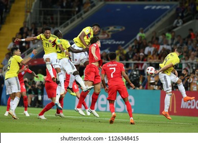 03.07.2018. MOSCOW, Russia:YERRY MINA SCORE THE GOL AND CELEBRATES in the Round-16 Fifa World Cup Russia 2018 football match between COLOMBIA VS ENGLAND in Spartak Stadium.