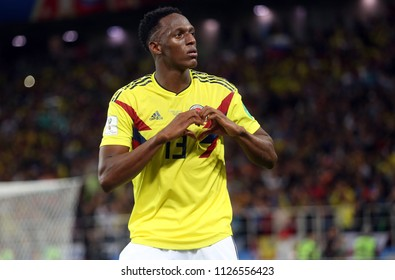 03.07.2018. MOSCOW, Russia:YERRY MINA SCORE THE GOAL AND CELEBRATES in  the Round-16 Fifa World Cup Russia 2018 football match between COLOMBIA VS ENGLAND in Spartak Stadium.