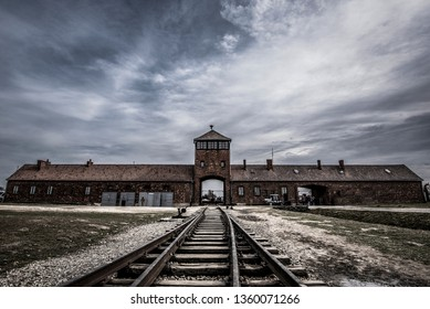 Oświęcim/Poland - 03/07/2019: Main entrance of Auschwitz II.