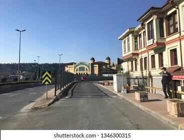 03/08/2019- Kasimpasa, Istanbul, Turkey.  Sutluce old houses and Halic Congress Center.