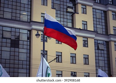 """03/18/2016 Russia, Moscow,Large Moskvoretsky Bridge. On Red Square Demonstration """"Crimean Spring"""". Demonstration dedicated to the accession of the Crimea to Russia."""