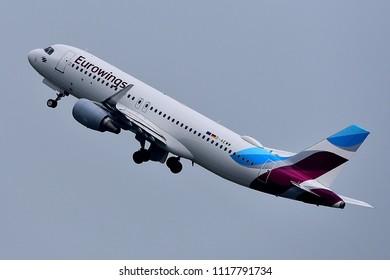 Düsseldorf,GERMANY-JUNE 03,2018: EUROWINGS Airbus A320.