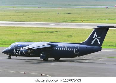 Düsseldorf,GERMANY-JUNE 03,2018:ASTRA Airlines SX-DIZ Astra Airlines British Aerospace 146-300.