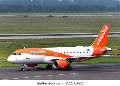 Düsseldorf,GERMANY-JUNE 03,2018:easyJet Europe Airbus A320.EasyJet Airline Company Limited, styled as easyJet, is a British low-cost carrier airline headquartered at London Luton Airport.