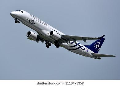 Düsseldorf,GERMANY-JUNE 03,2018:KLM Cityhopper Embraer ERJ-190.KLM Royal Dutch Airlines is the flag carrier airline of the Netherlands.