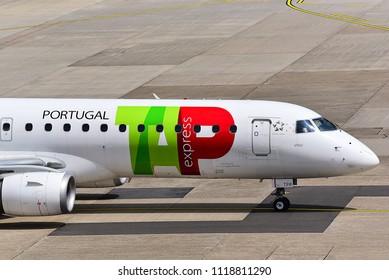 Düsseldorf,GERMANY-JUNE 03,2018:TAP Portugal Embraer 190.