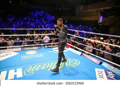 03-28-2018, Cardiff, Wales, UK. Anthony Joshua MBE during the public work out ahead of his fight with New Zealand Joe Parker St Davids Hall, Cardiff.