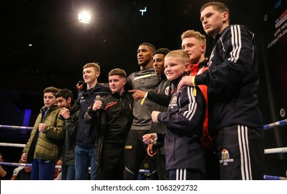03-28-2018, Cardiff, Wales, UK.   Anthony Joshua MBE with fans from local boxing clubs in Cardiff during the public work out.