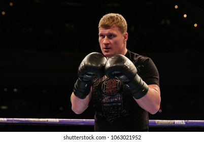 03-28-2018, St Davids Hall, Cardiff.    Alexander Povetkin preparing for his fight against David Price during the Pubic work out ahead of the Anthony Joshua V Joseph Parker Unified World Title fight.
