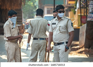 03/28/2020 India, GOA, Arambol, Police (CRPF) personnel stops and controled commuters during Indian lockdown and curfew as preventive measure against COVID-19 coronavirus