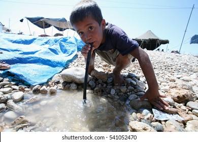 04 june 2013, malatya,tukey. refugee kid in a refugee camp in Malatya, eastern Turkish city Malatya.