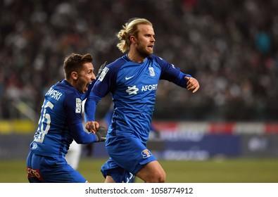 04 MARCH 2018 - WARSAW, POLAND: Polish Extra League LOTTO Ekstraklasa football match Legia Warszawa - Lech Poznano/p Christian Gytkjaer (Lech Poznan) celebrates his goal