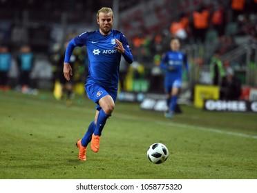 04 MARCH 2018 - WARSAW, POLAND: Polish Extra League LOTTO Ekstraklasa football match Legia Warszawa - Lech Poznano/p Christian Gytkjaer (Lech Poznan)