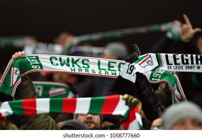 04 MARCH 2018 - WARSAW, POLAND: Polish Extra League LOTTO Ekstraklasa football match Legia Warszawa - Lech Poznano/p Legia supporters