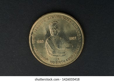 04 Oct 2015 Swami Vivekanand Birth Century 5 Rupee Coin Kalyan near Mumbai Maharashtra INDIA