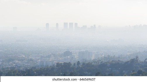 04 September 2016 - Los Angeles, USA.  Downtown skyscrapers silhouettes of city of Los Angeles. Poor visibility, smog, caused by air pollution.