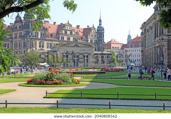 04 September 2021 - Dresden, Germany: Hausmannsturm tower and Dresden Cathedral Catholic Court Church in Dresden old city