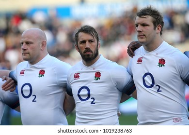 04.02.2018. Stadio Olimpico, Rome, Italy. Rbs Six Nations 2018. Italy versus England.Dan Cole, Chris Robshaw, Launchbury in action during the match Italy versus England at Stadio Olimpico in Rome.