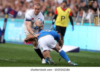 04.02.2018. Stadio Olimpico, Rome, Italy. Rbs Six Nations 2018. Italy versus England.Mike Brown in action during the match Italy versus England at Stadio Olimpico in Rome.