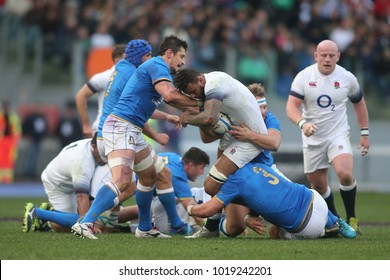 04.02.2018. Stadio Olimpico, Rome, Italy. Rbs Six Nations 2018. Italy versus England. Courtney Lawes in action during the match Italy versus England at Stadio Olimpico in Rome.
