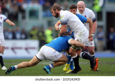 04.02.2018. Stadio Olimpico, Rome, Italy. Rbs Six Nations 2018. Italy versus England. Chris Robshaw in action during the match Italy versus England at Stadio Olimpico in Rome.