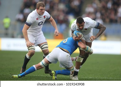 04.02.2018. Stadio Olimpico, Rome, Italy. Rbs Six Nations 2018. Italy versus England.Courtney Lawes in action during the match Italy versus England at Stadio Olimpico in Rome.