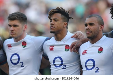 04.02.2018. Stadio Olimpico, Rome, Italy. Rbs Six Nations 2018. Italy versus England.Watson, Farrell, Joseph in action during the match Italy versus England at Stadio Olimpico in Rome.