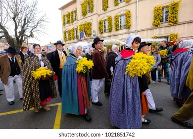 04.02.2018. Village Tanneron, Provence, France. Mimosa festival. Parade. Costumes of Provence.