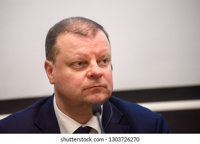 04.02.2019. RIGA, LATVIA.  Saulus Skvernelis, Prime Minister of Lithuania, during Press conference, after Meeting of the Baltic Council of Ministers.