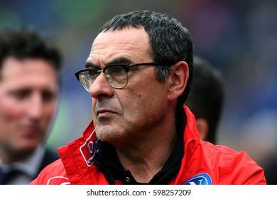 04.03.2017. Stadio Olimpico, Rome, Italy. Serie A Football. AS Roma versus Napoli. Maurizio Sarri (napoli coach) during the match.
