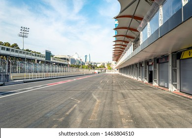 04/05/2019 Baku, Azerbaijan, Garages and Pit Stop of Formula 1 in Baku, Panoramic view of stands and tracks