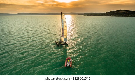 04.07.2018 Hungary, Lake Balaton. Prevital / Litkey sailing Team training for the next race with a catamaran. 04.07.2018 Hungary, Lake Balaton