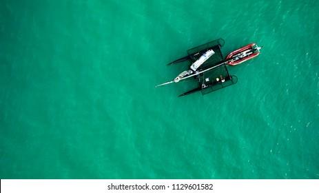04.07.2018 Hungary, Lake Balaton. Prevital / Litkey sailing Team training for the next race with a catamaran. 04.07.2018 Hungary, Lake Balaton
