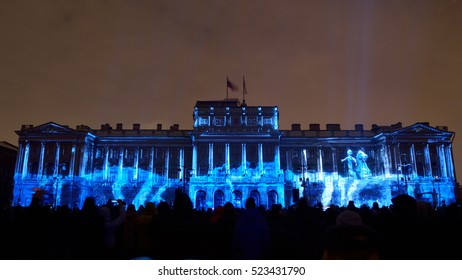 04.11.2016.Russia.Saint-Petersburg.Light show in the city took place in the night time.