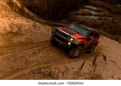 04.11.2017. Arkhangelsk tract. Leningrad region. Russia. Hummer H3 at a sand quarry. Hummer H3 is a compact SUV manufactured by GM