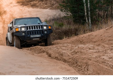 04.11.2017. Arkhangelsk tract. Leningrad region. Russia. Hummer H3 off-road. Hummer H3 is a compact SUV manufactured by Gm