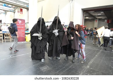 04-18-2015 Lingotto Fiere in Turin, Italy, Torino Comics, Nazguls from Lord of the Rings cosplayers