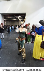 04-18-2015 Lingotto Fiere in Turin, Italy, Torino Comics, Female version of Loki from Avengers movie