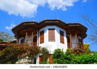 04/20/2019- Akyaka, Mugla, Turkey. Typical Akyaka houses with clouds backgrounds.