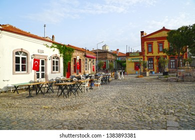 04/23/2019- Ayvalik, Blikesir, Turkey.         Cunda Island, also called Alibey Island  is the largest of the Ayvalık Islands .View of the narrow, colorful street of the town .