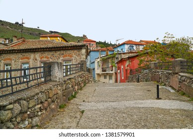 04/23/2019- Bergama, Turkey-  Bergama (Pergamon ) is an historical town in Izmir province of Turkey. View of the old town with colorful houses.